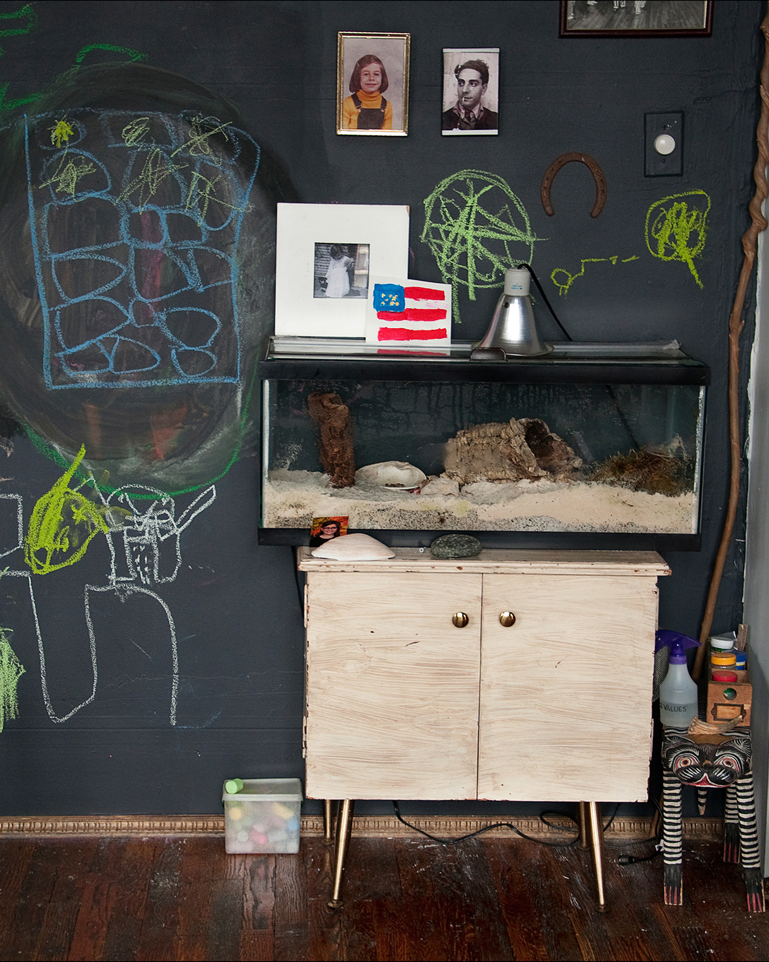 A display case with a hermit crab on a cabinet sided by a toy cat and against a wall-size blackboard with drawings and family photographs.