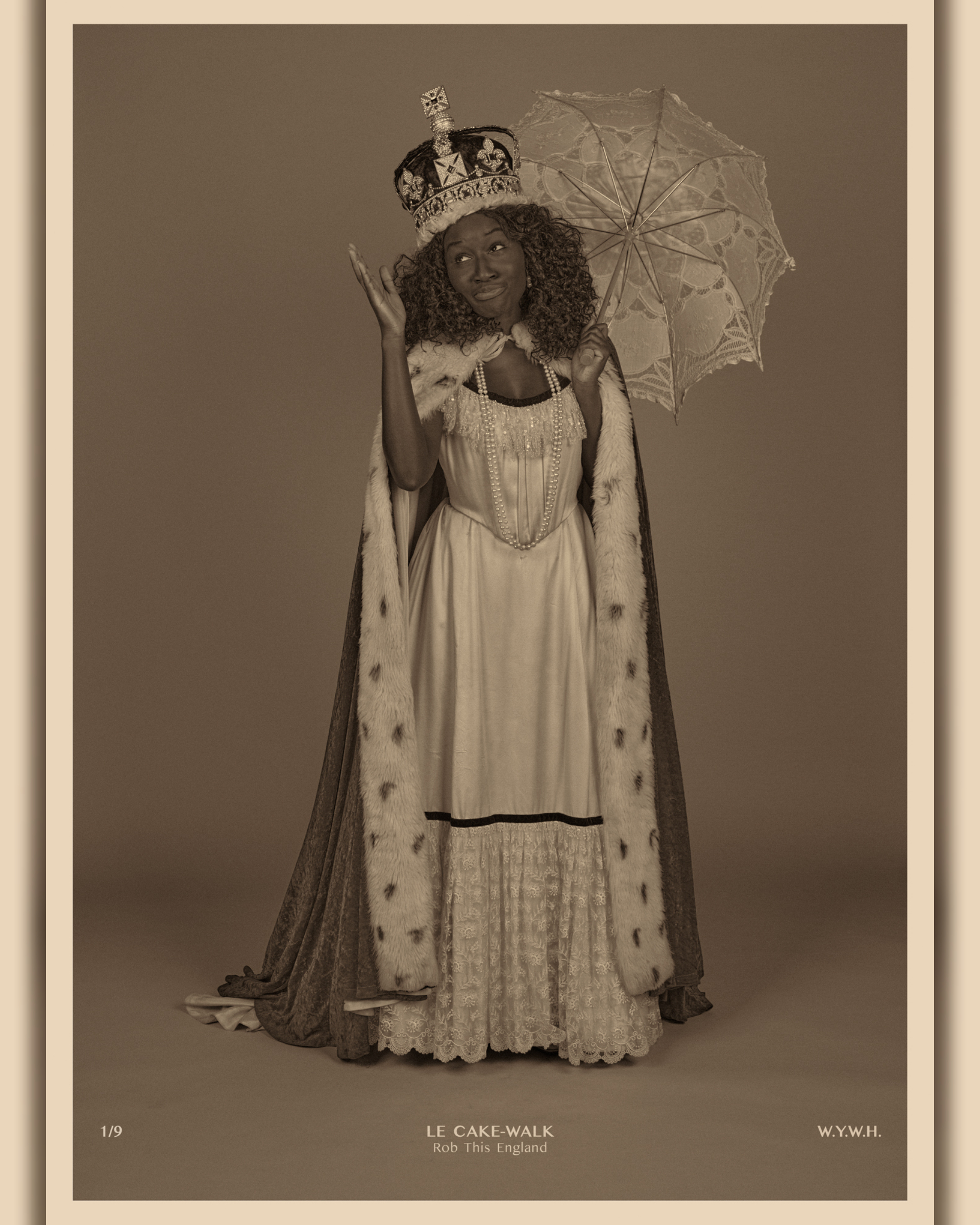 A woman dressed in a Victorian dress, with a royal robe and crown holding an antique umbrella, gesturing in amusement at her pose