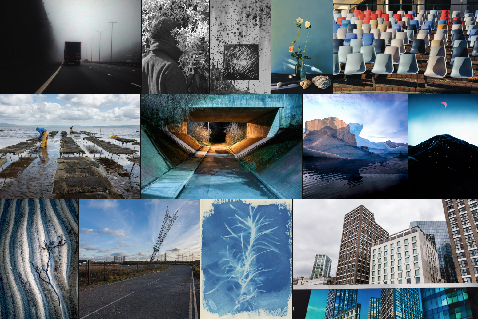 Compiltation of photographs showing a lorry on a motorway, a person with head in a bush, abstract black & white, still life of cut flowers, empty plastic chairs, people working in the sea, a lit underpass, double exposure of sea & mountains, a dark mountain with a red moon above, lines and seaweed in the sand, a pylon at the end of a road, cyanotype of a plant & high-rise buildings above a hoarding showing high-rises