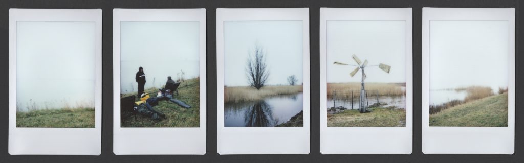 5 instax polaroids with landscapes in mist
