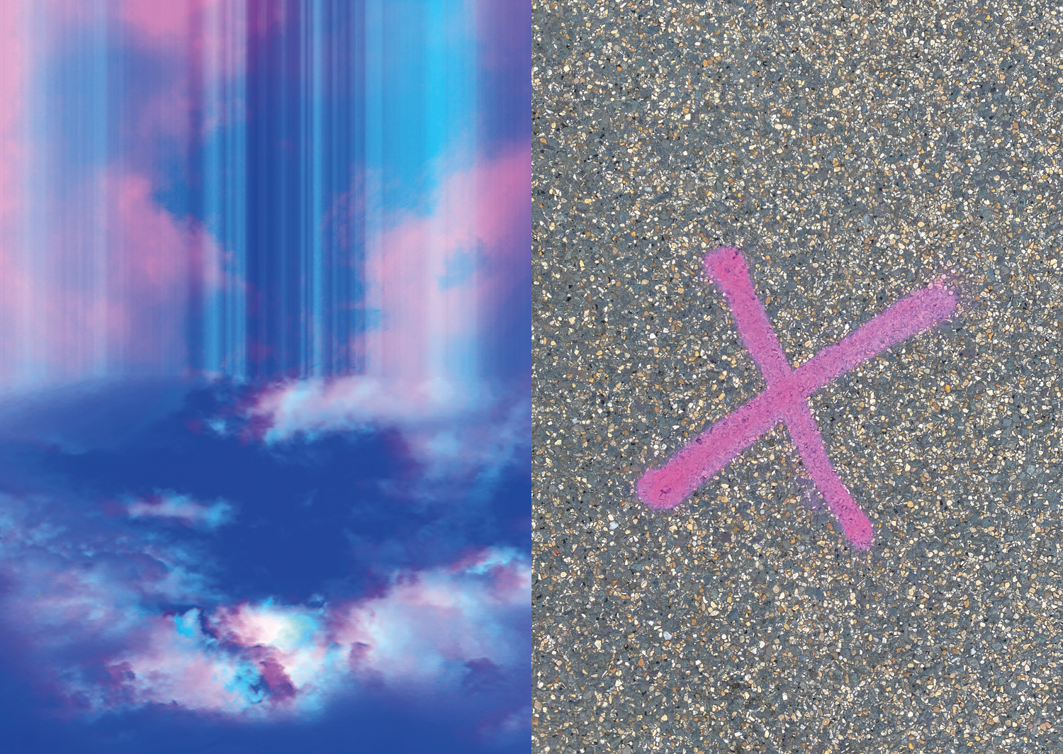 Image with distorted clouds in a blue sky to the left and a spray painted pink X on a road surface to the right