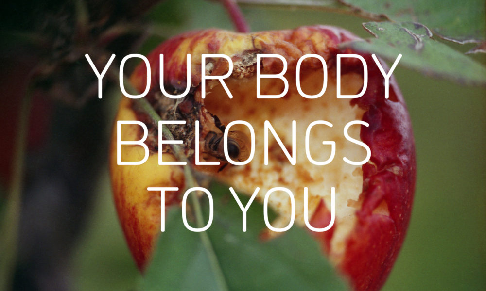 Graphic with an image of an apple being eaten by a bee, and the words 'YOUR BODY BELONGS TO YOU' in white in the centre