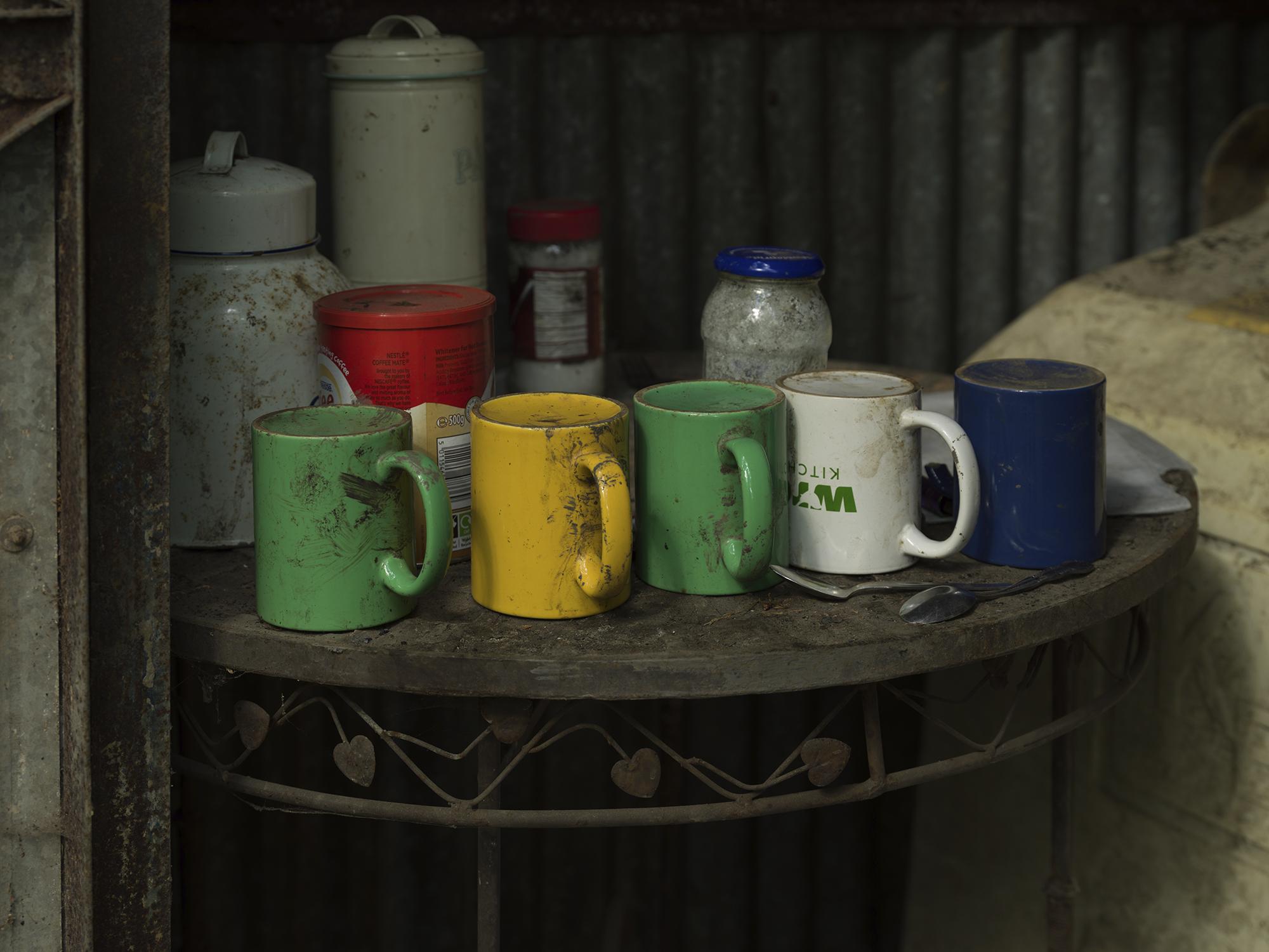 Tea mugs lined up on table