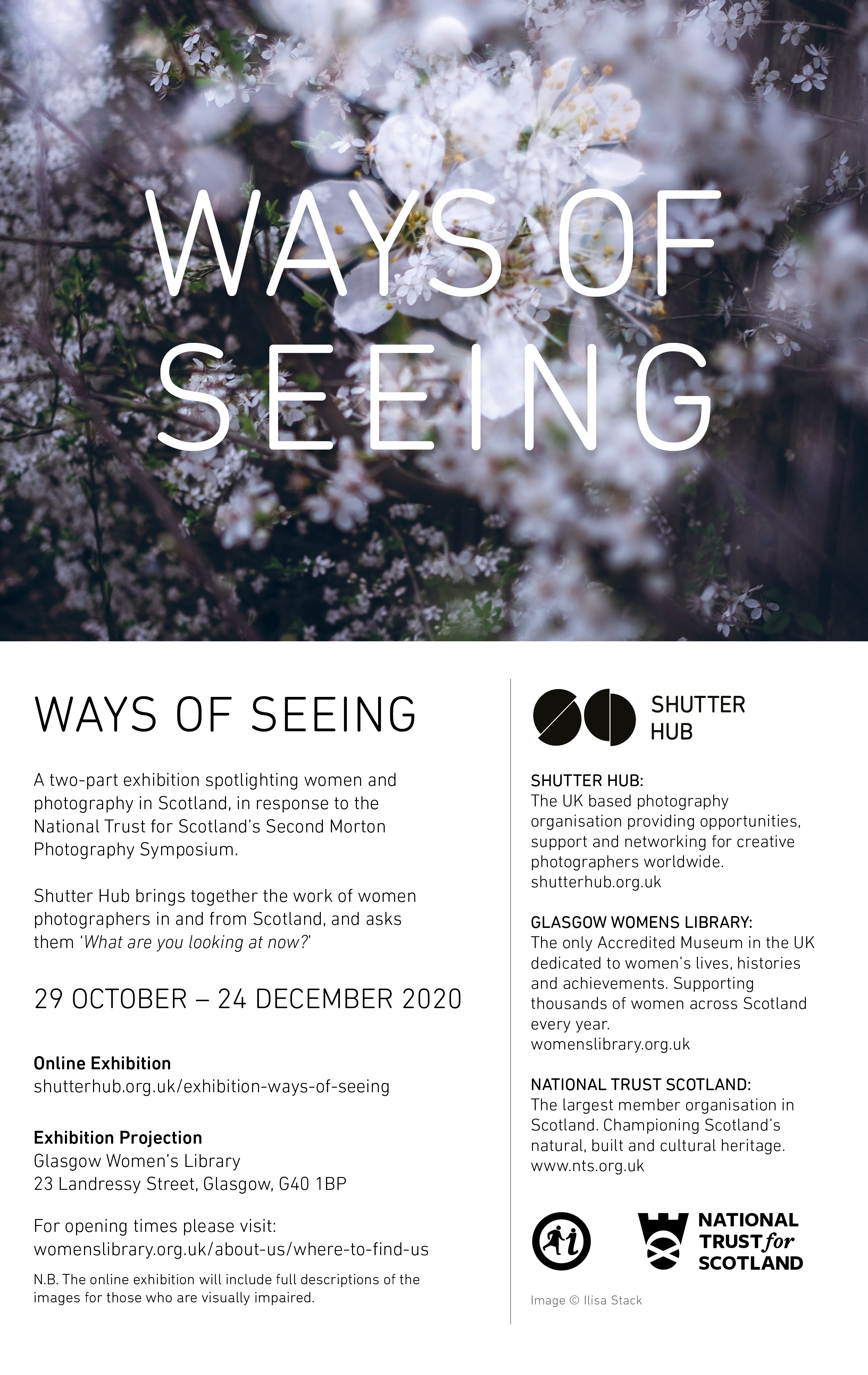 Ways of Seeing exhibition flyer with information about the online exhibition. The information is repeated in text-form on the blog post.