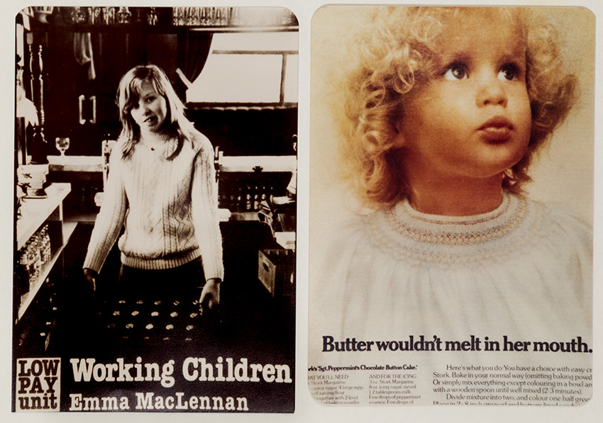 collage of two vintage ads side by side. on the left a little girls with long hair, in the kitchen, holding a tray , onthe right- a small blonde child with curly hair looking up